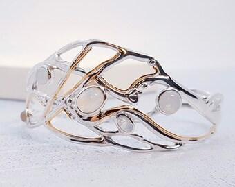 Personalized Sterling Silver Moonstone Bracelet for Women * Organic Gemstone