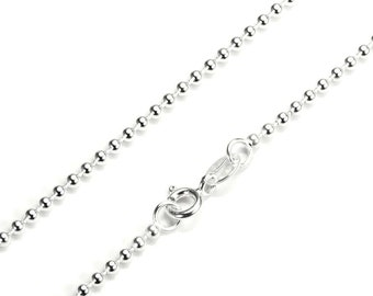 2mm Bead Chain * 16 18 20 22 inches * Sterling Silver