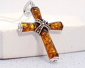 Sterling Silver Celtic Strapped Cross Necklace for Men or Women * Heritage Amber Gemstone Pendant