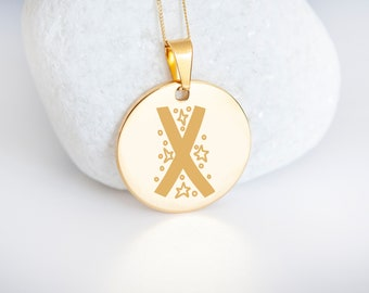 Personalised 9ct Yellow Gold Initial 'X' Alphabet Pendant Necklace