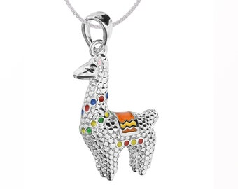 Sterling Silver 3D Standing Llama Pendant Necklace