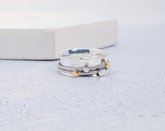 UK S / US 9 Sterling Silver Spinner Ring for Women * Wide Band * Custom Thumb Ring * Geometric Design *