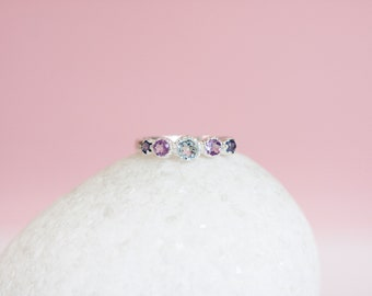 Sterling Silver Organic Ring with Five Faceted Topaz Amethyst and Iolite Gemstones on a Silver Band