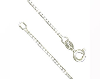 Sterling Silver Medium Box Chain Necklace - 16 18 20 24 Inch