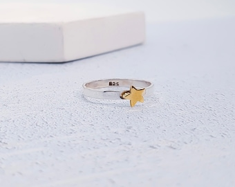UK P / US 7.5 Brass Star Stacking Ring * Sterling Silver * Slim Ring * Band Ring * Minimalist * Dainty * Hammered