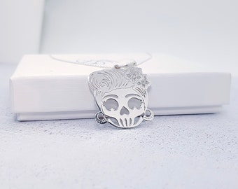 Personalized Sterling Silver Sugar Skull Jewelry for Men or Women * Memento Mori Pendant Necklace  Design