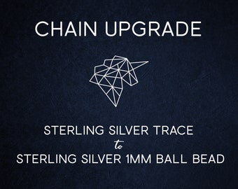 Chain Upgrade 1mm Ball Bead Chain * 14 16 18 20 22 24 28 32 inches * Solid Sterling Silver * Best for Men, Women, Girls, Boys