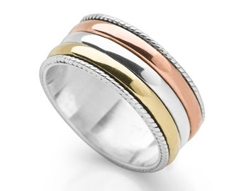 Sterling Silver Spinner Ring for Women * Personalized With Up To 10 Characters * Wide Band * Custom Thumb Ring * Mixed Metal Design *