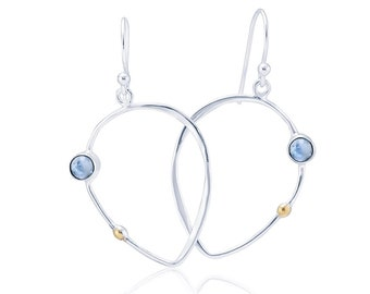 Sterling Silver and 14ct Gold Moonstone Earrings for Women * Organic Gemstone Earrings Design *