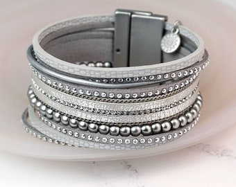 Personalised Metallic Grey Leather Bracelet with Crystals and Silver Beads