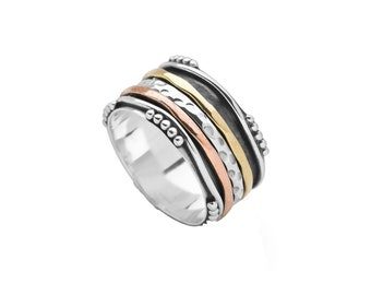 Personalized Sterling Silver Spinner Ring for Women or Men * Wide Band * Custom Thumb Ring * Bali Style Design *