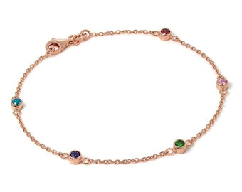 Personalized 18ct Rose Gold Rainbow Cubic Zirconia Belcher Bracelet for Women * Dainty Slim Stacking