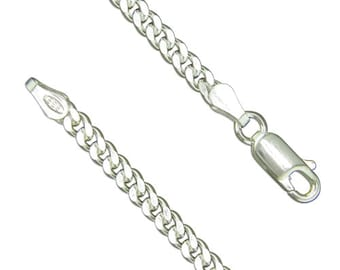 Sterling Silver Heavy Diamond Cut Curb Chain Necklace - 18 20 24 30 Inch