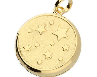 Personalised Star Locket Necklace * Sterling Silver * 18ct Yellow Gold Vermeil * Star Locket * Hair Picture Locket * Mourning Jewelry