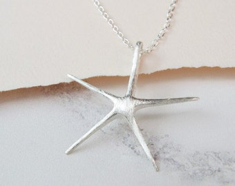 Personalised Silver Starfish Necklace * Sterling Silver * Starfish Pendant * Starfish Jewelry * Life's a Beach * Personalised Gift *