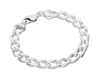 Heavy Diamond Curb Bracelet * 8 inches * Sterling Silver *