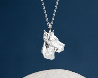Personalised Sterling Silver Great Dane Dog Pendant Necklace