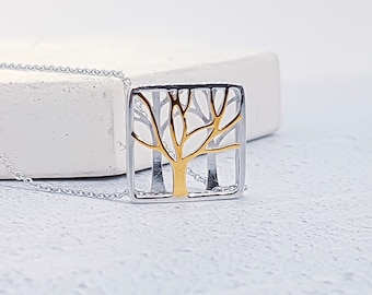Sterling Silver and 18ct Gold Tree of Life Necklace for Women or Girls * 3d Tree Nature Pendant Design