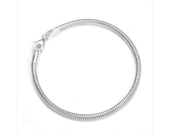 3mm Snake Bracelet Chain * 7.5 inches * Sterling Silver * Ideal for Bead Charms *
