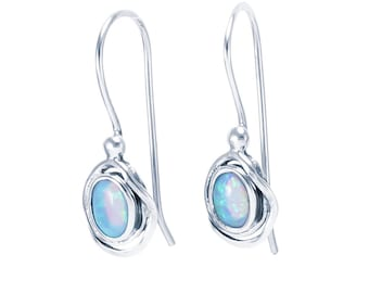 Sterling Silver and Blue Opal Earrings for Women * Organic Gemstone Earrings Design *