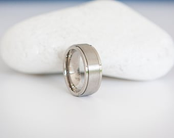 Brushed Silver Stainless Steel Spinner Ring