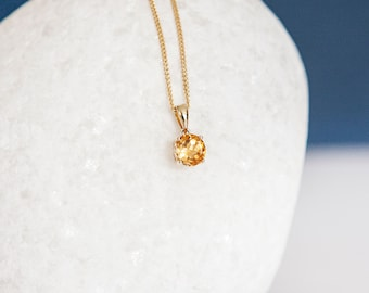 Solid 9ct Yellow Gold November Birthstone Citrine Pendant Necklace