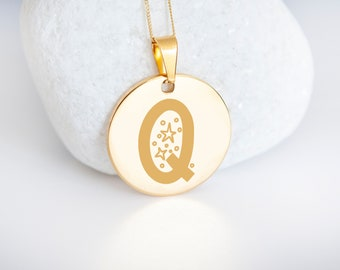 Personalised 9ct Yellow Gold Initial 'Q' Alphabet Pendant Necklace