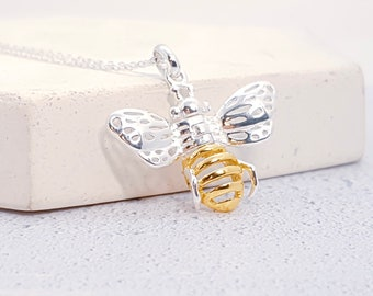 Sterling Silver and 18ct Gold Honey Bee Necklace for Men or Women * Personalized with 40 Characters * Bumble Bee Insect Pendant Design