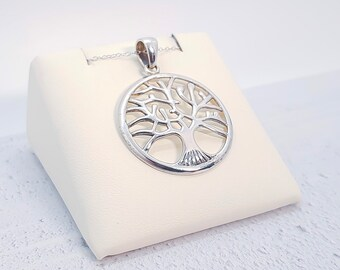 Sterling Silver Tree of Life Necklace for Women or Girls * Simple Tree Nature Pendant Design