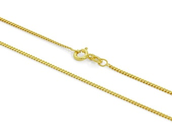1mm Curb Chain * 16 18 20 22 24 inches * Yellow Gold Dipped Sterling Silver