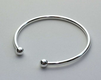 Personalized Sterling Silver Cuff Bracelet for Men or Women * Slim Heritage Celtic Torc Design
