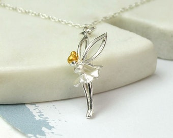 Personalised Tinker Fairy Necklace * Sterling Silver * Believe in Fairies * Silver Fairy Necklace * Fairy Necklace Charm *