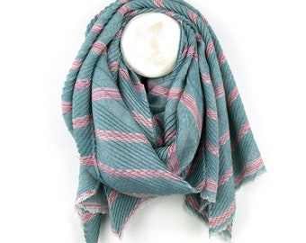 Personalised Teal Blue Pleated Scarf with Pink Chevron Stripes - 60cm x 180cm
