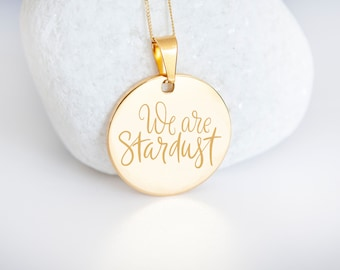 Personalised 9ct Yellow Gold Coin Disc Pendant Necklace - We are Stardust