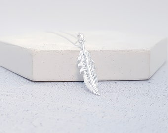 Personalized Sterling Silver Long Feather Necklace for Men or Women * Large Boho Pendant Design *