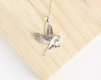 Personalised Owl Necklace * Sterling Silver * Bird Pendant * Bird Jewelry * Bird Gift * Bird Necklace * Woodland Bird *