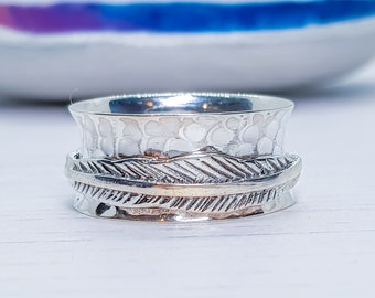 US 6.5 | UK N | EU 54 Personalized Sterling Silver Spinner Ring for Women * Wide Band * Custom Thumb Ring * Feather Pattern *