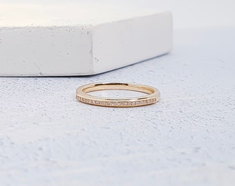 Solid Gold Stacking Ring for Women *  23 Pave Diamond Set Gemstone Stacking Ring