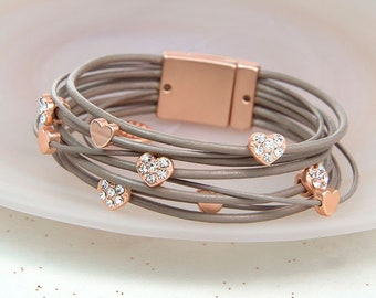 Personalised Taupe Leather Rose Gold Crystal Hearts Bracelet