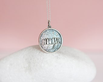 Sterling Silver Stonehenge Skyline Disc Pendant Necklace
