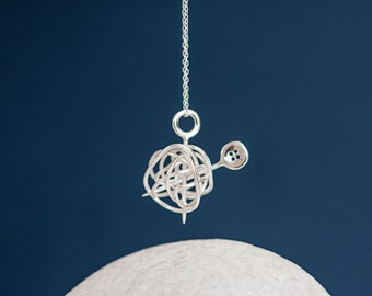 Sterling Silver Wool Ball Pendant Necklace with Knitting Needles and Button