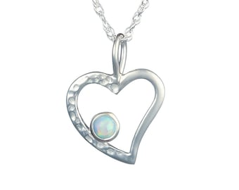 Personalized Sterling Silver Blue Opal Gemstone Heart Pendant Necklace for Women or Girls - October Birthstone