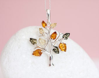 Sterling Silver Amber Tree of Life Pendant Necklace