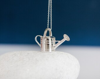 Sterling Silver Garden Watering Can Pendant Necklace