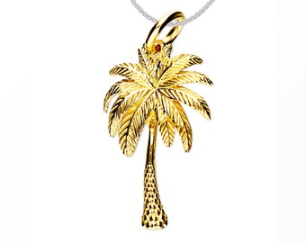 Personalized 18ct Yellow Gold Dipped Palm Tree Pendant Necklace