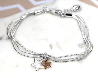 Personalised Star Bracelet * Sterling Silver * Star Bangle * Shooting Star Jewelry * Make a Wish * Lucky Star Gift * Boho Jewelry *