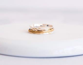 UK N / US 6.5 Sterling Silver Spinner Ring for Women * Slim Band * Custom Thumb Ring * Hammered Design *