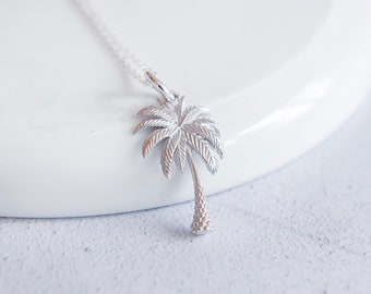 Personalized Sterling Silver Palm Tree Pendant Necklace
