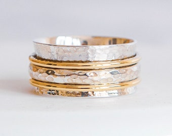 Sterling Silver Spinner Ring for Women * Personalized With Up To 10 Characters * Wide Band * Custom Thumb Ring * Hammered Design *