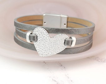Personalised Grey Leather Bracelet with Textured Silver Plated Heart